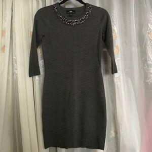 S gray beaded collar sweater dress